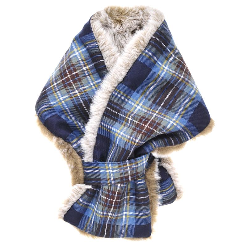 Faux fur tartan scarf