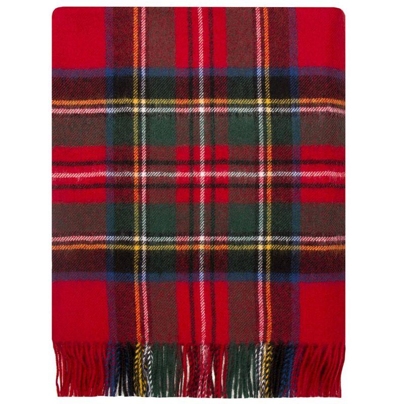 Brushed Wool Tartan Rug in Stewart Royal