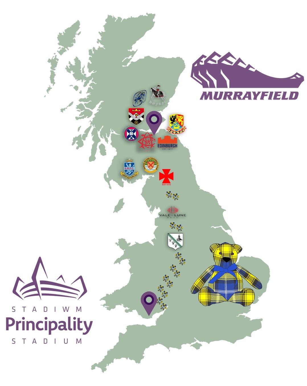 Doddie5 Tartan Ted Journey from BT Murrayfield to Principality Stadium