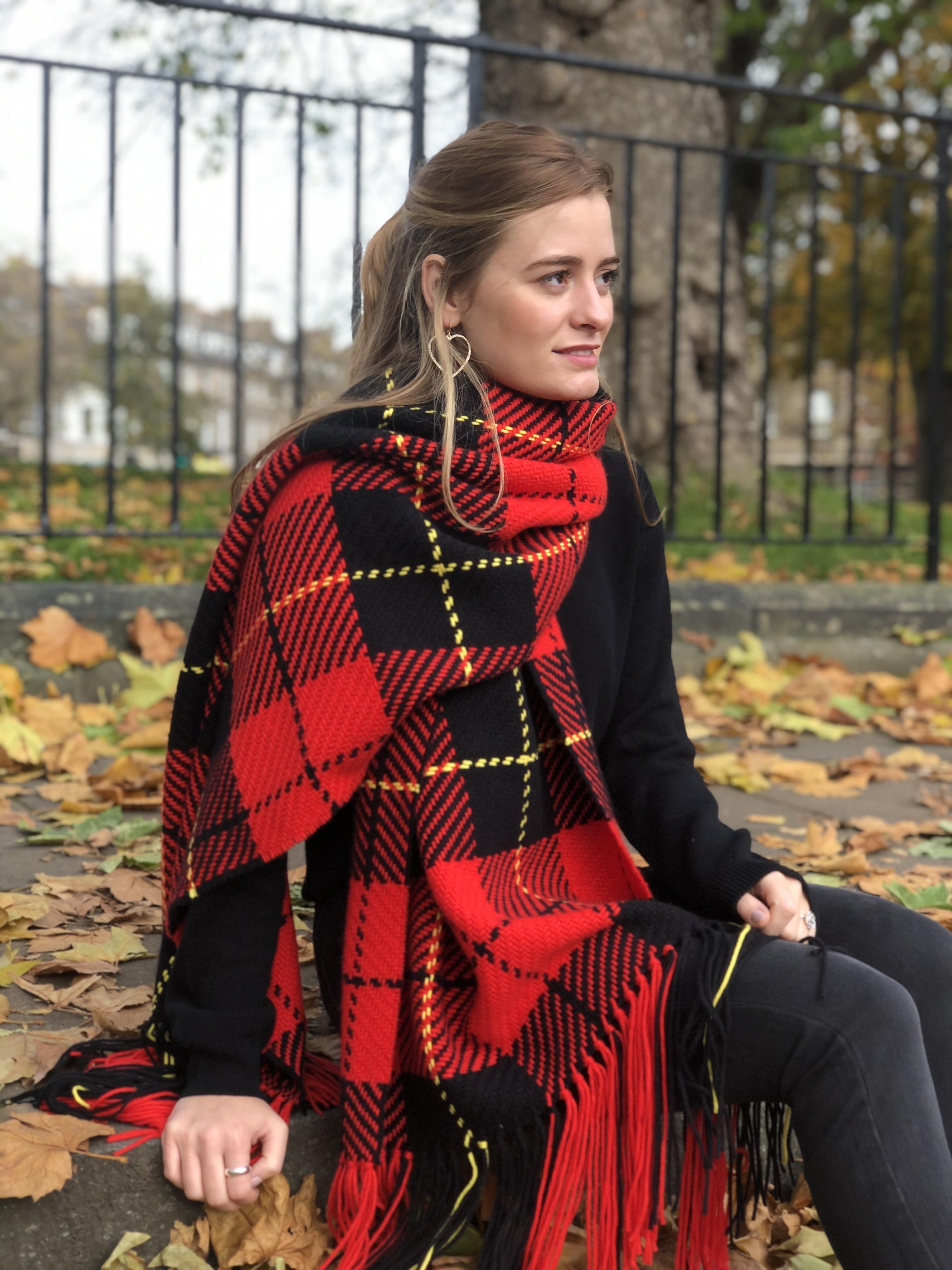 Tartan Blanket Picnic Rug Wool Mix Scottish Wallace Modern Tartan