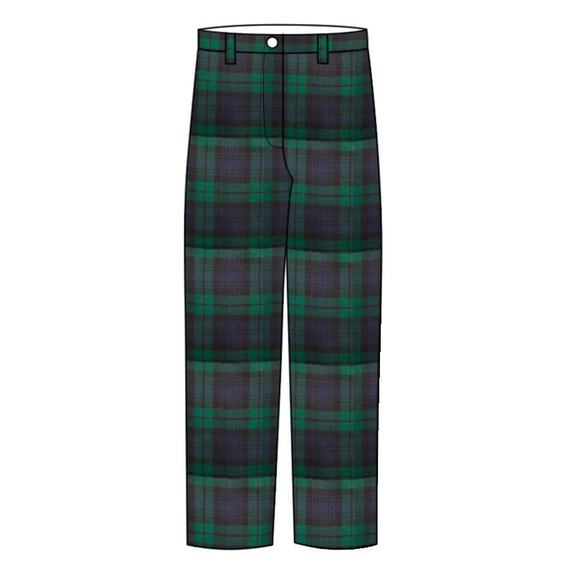 Women's Tartan Trousers with Narrow Waistband