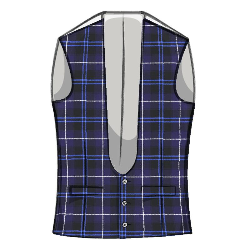 Men's Tartan Waistcoat with Horseshoe Neck