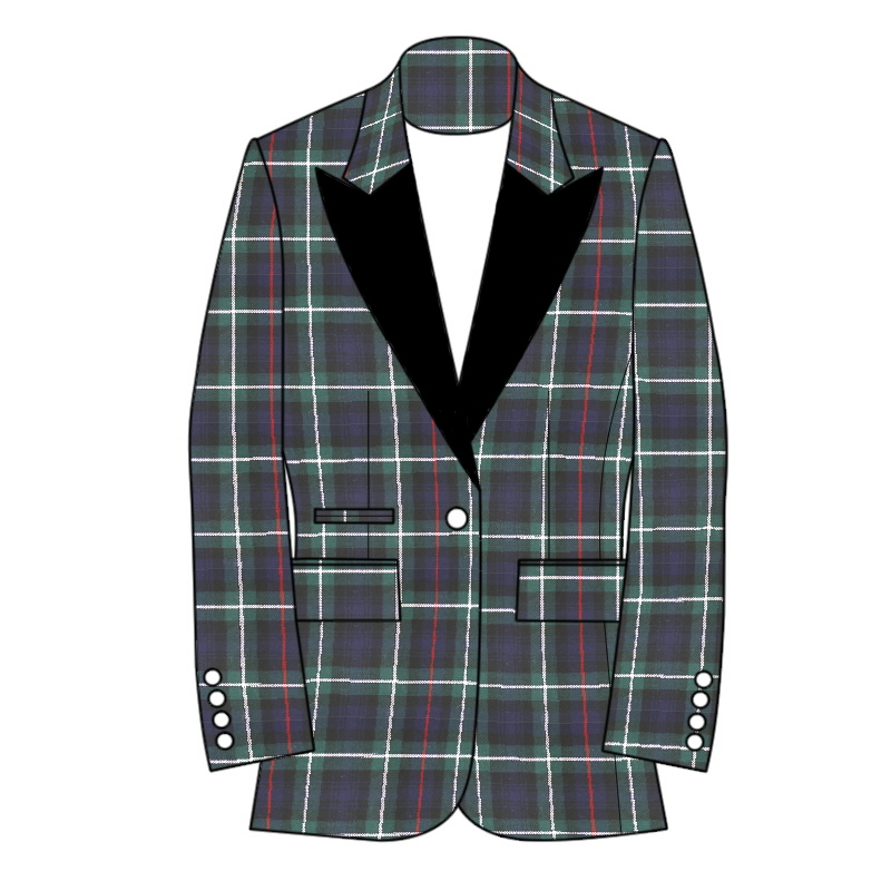 Women's Tartan Jacket Single Button Fastening