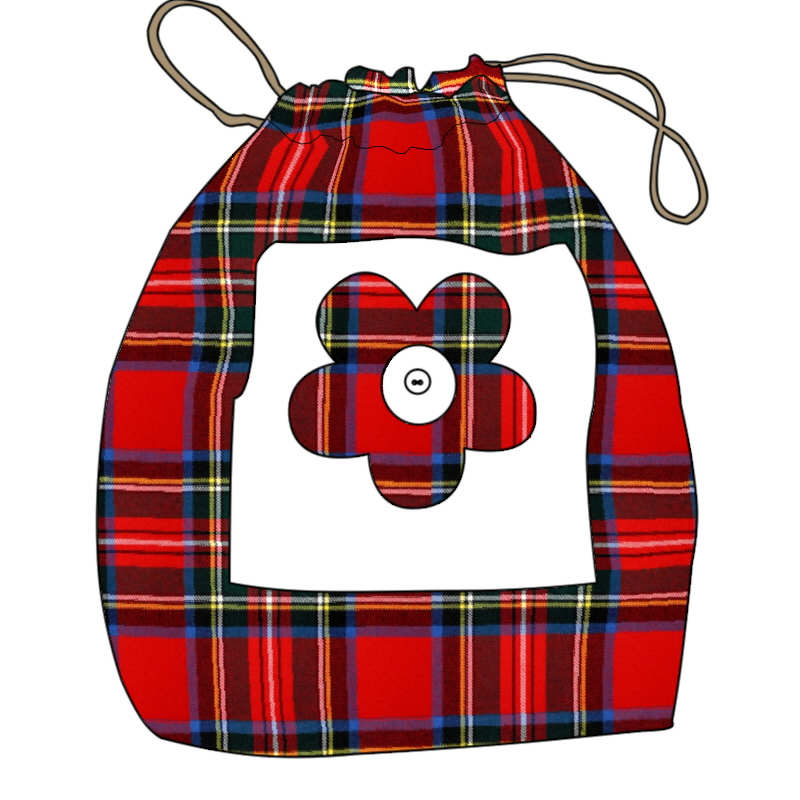 Children's Drawstring Tartan Bag
