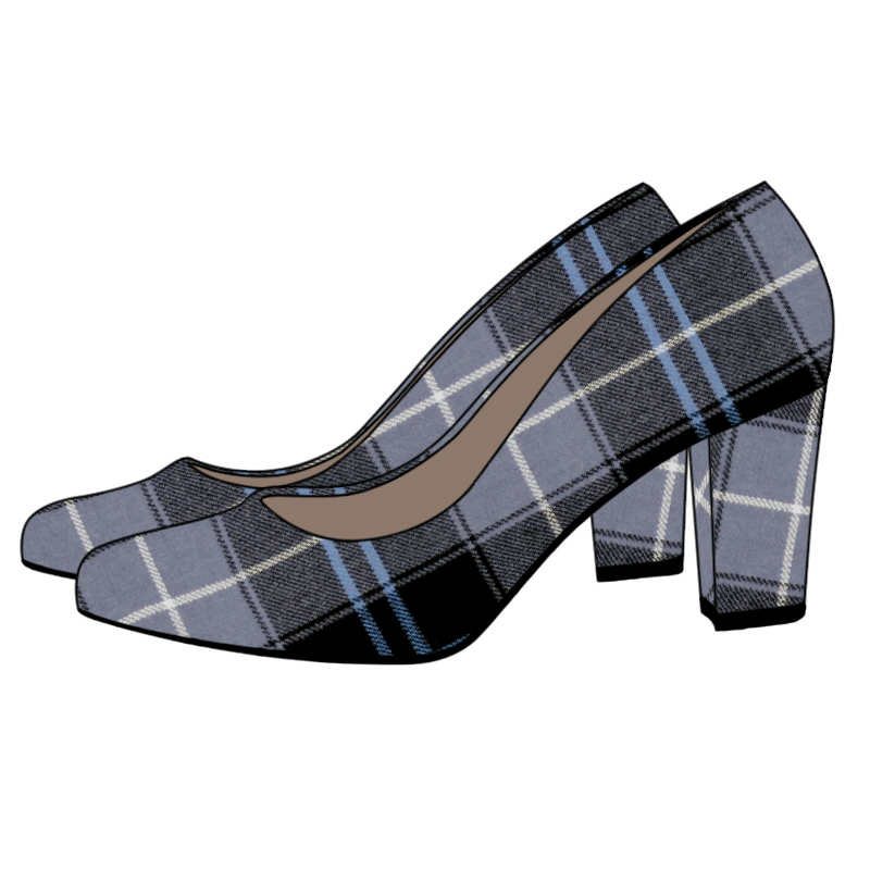 Tartan Block Heel Court Shoe