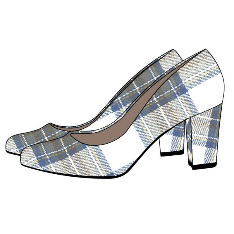 Tartan Block Heel Court Shoe