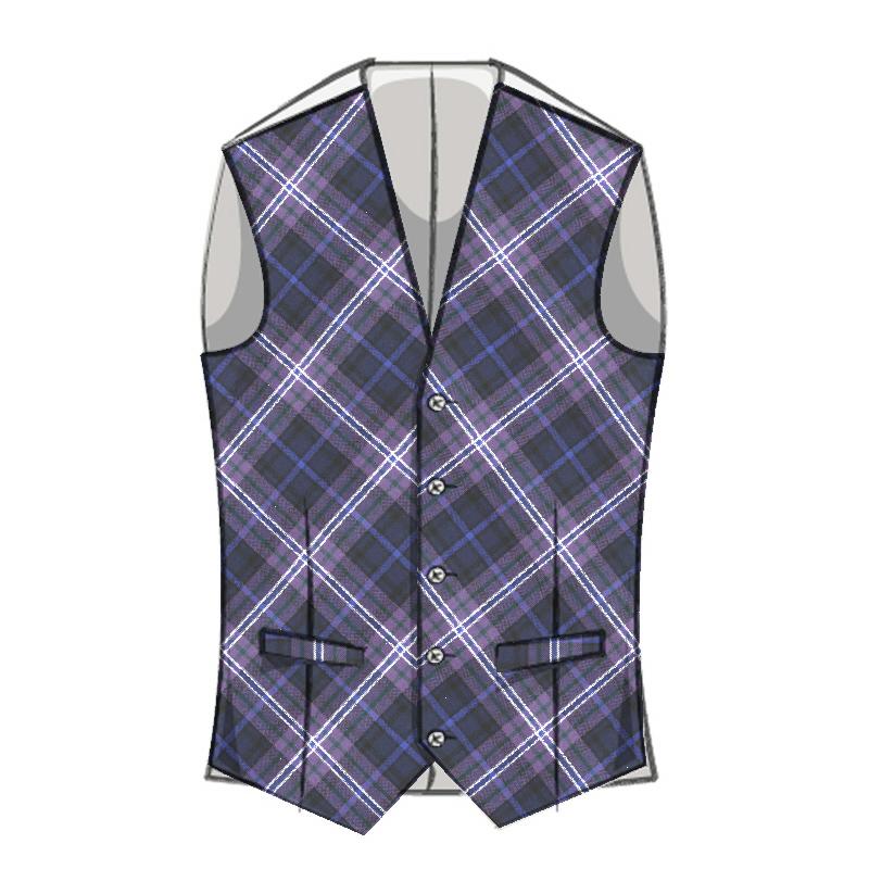 Men's Bias Cut Wool Tartan Waistcoat