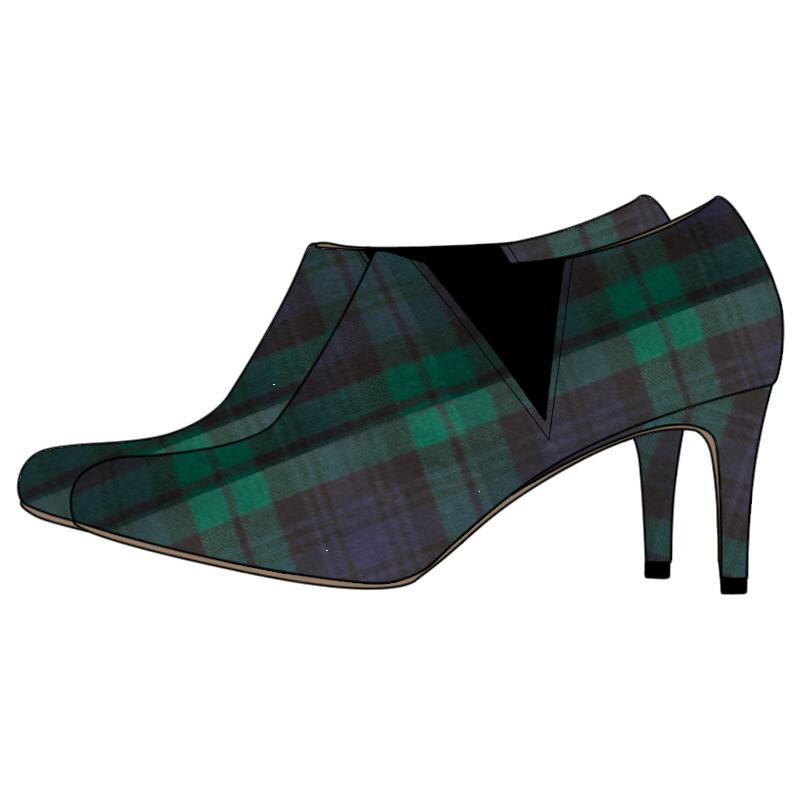 Women's Tartan Boots - Narrow Heel