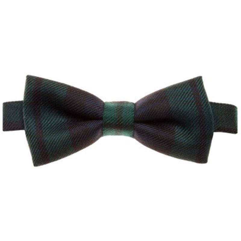 Wool Tartan Bow Tie in Black Watch Modern