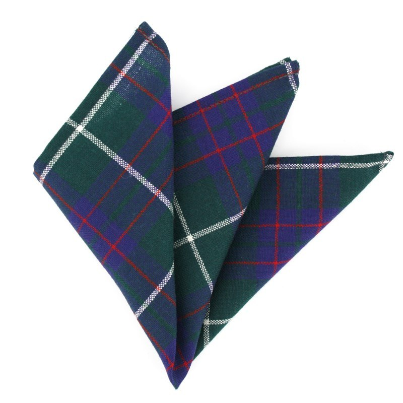 Plaid Wool Pocket Square in MacIntyre Modern