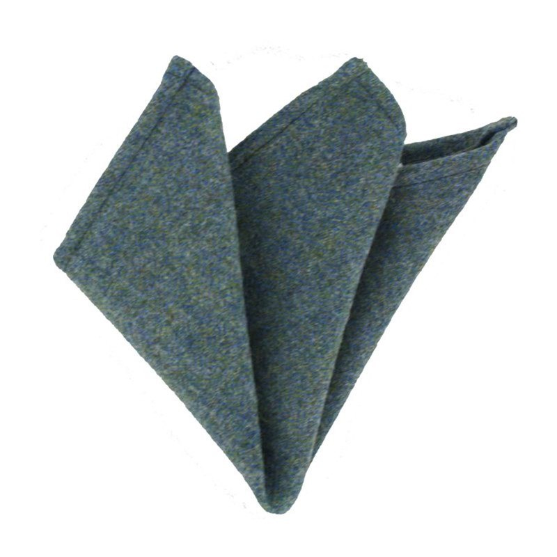 Plaid Wool Pocket Square in Cheviot Sea (CHE038)