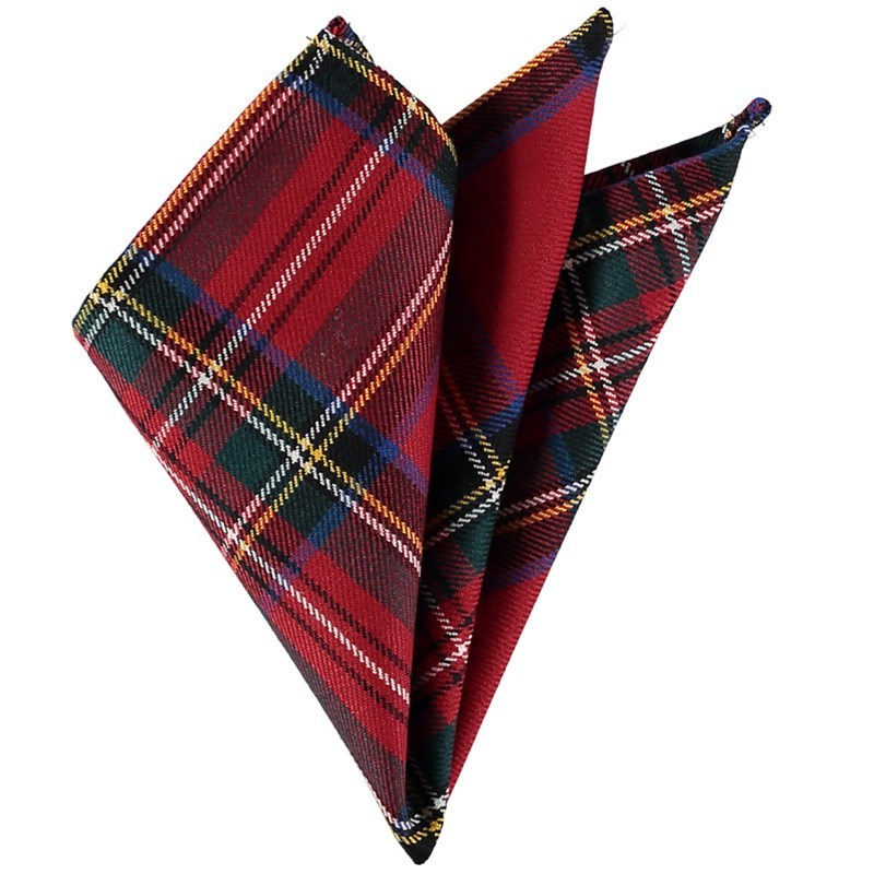 Plaid Wool Pocket Square in Stewart Royal