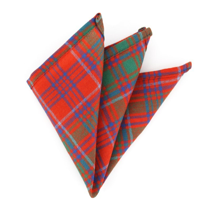 Wool Tartan Pocket Square in Grant Ancient