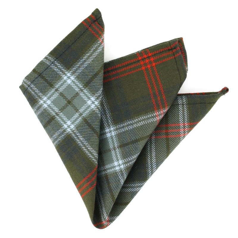 Wool Tartan Pocket Square in Lochcarron Hunting Weathered