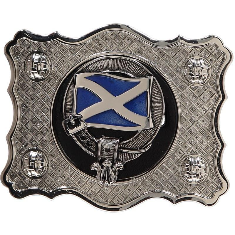 Clan Crest Belt Buckle in Saltire Clan Crest
