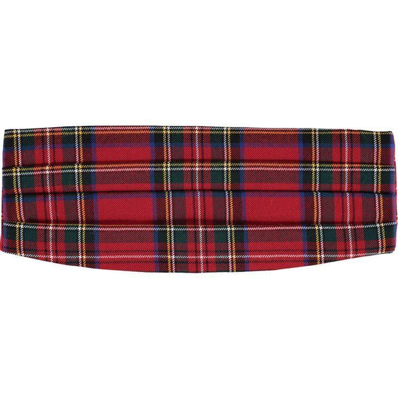 Wool Tartan Cummerbund in Stewart Royal