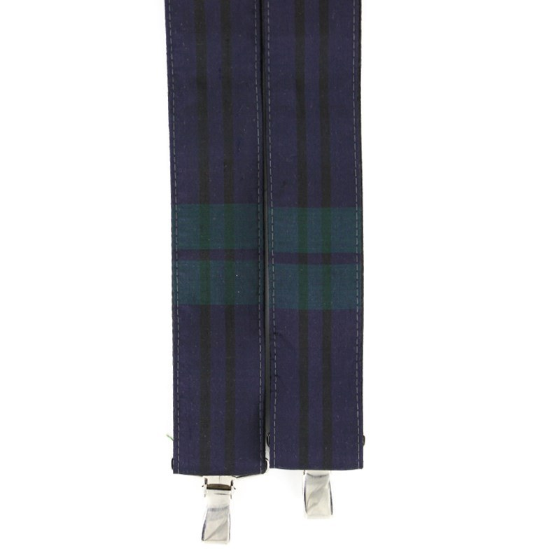 Plaid Silk Suspenders in Black Watch Modern Silk 31013-29