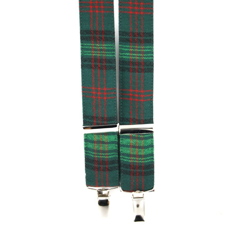 Plaid Wool Suspenders in Ross Hunting Modern