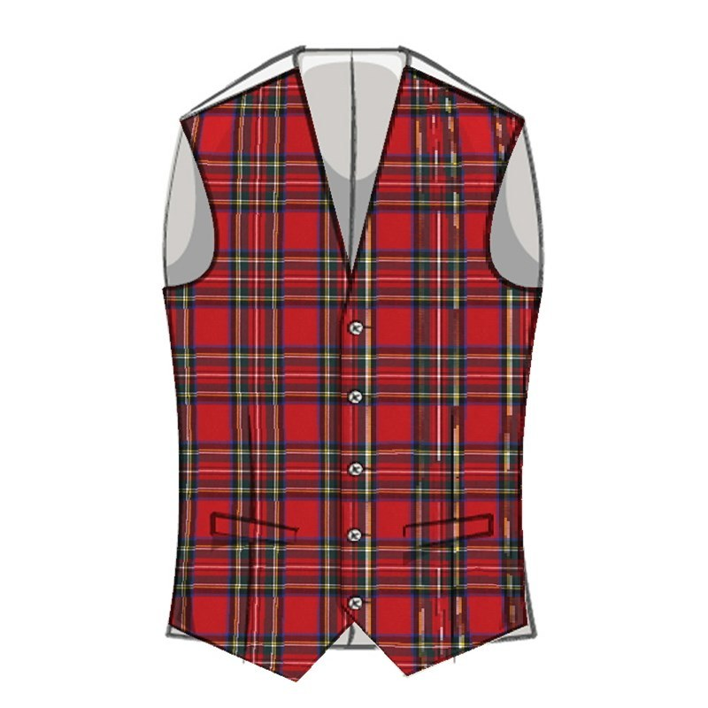 Mens Plaid Wool Vest in Stewart Royal