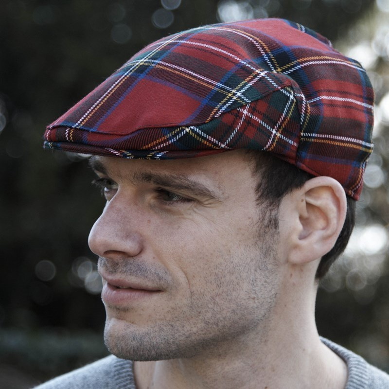 Tartan Flat Cap in Stewart Royal