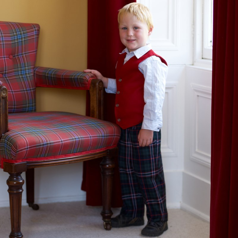 Boy's Machine Washable Tartan Trousers