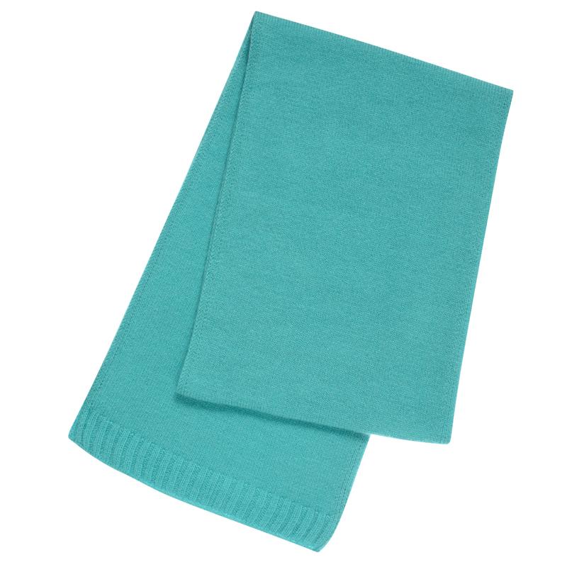 Plain Knit Cashmere Scarf in Aqua