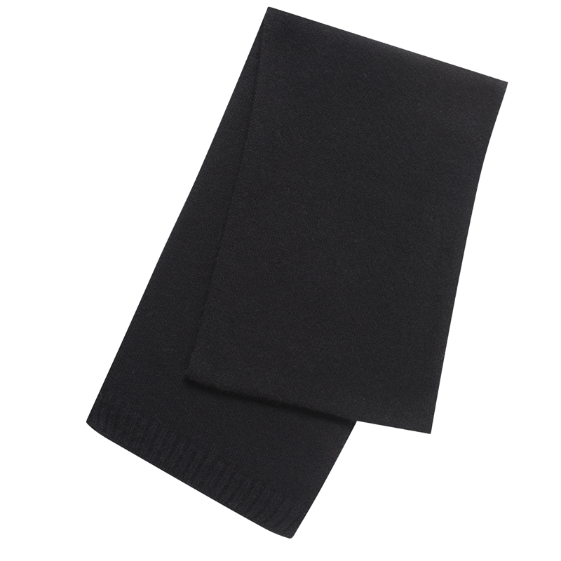Plain Knit Cashmere Scarf in Black
