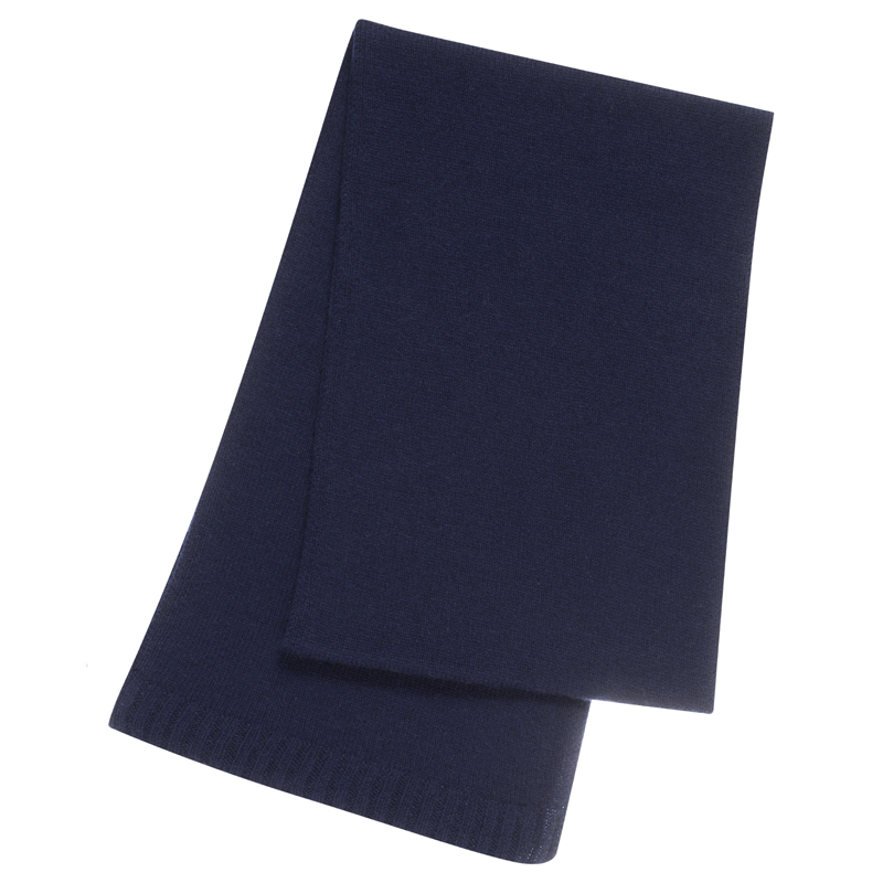 Plain Knit Cashmere Scarf in Navy