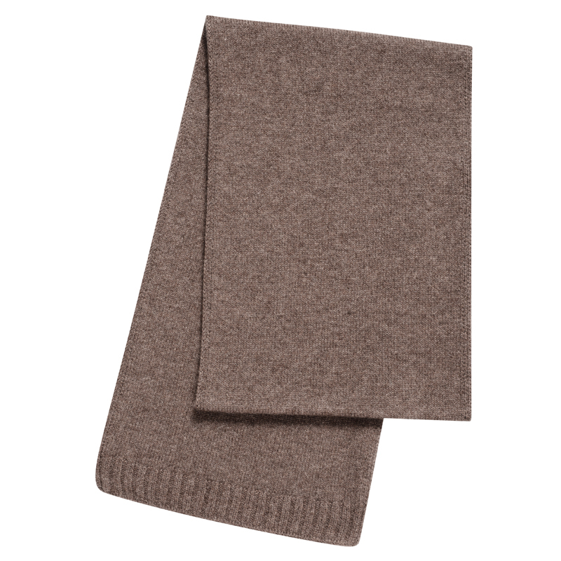 Plain Knit Cashmere Scarf in Otter Brown