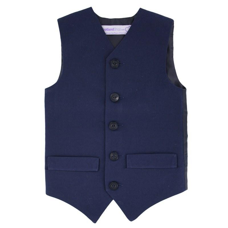 Einfarbige Weste für Jungen aus Wolle in Navy Blue