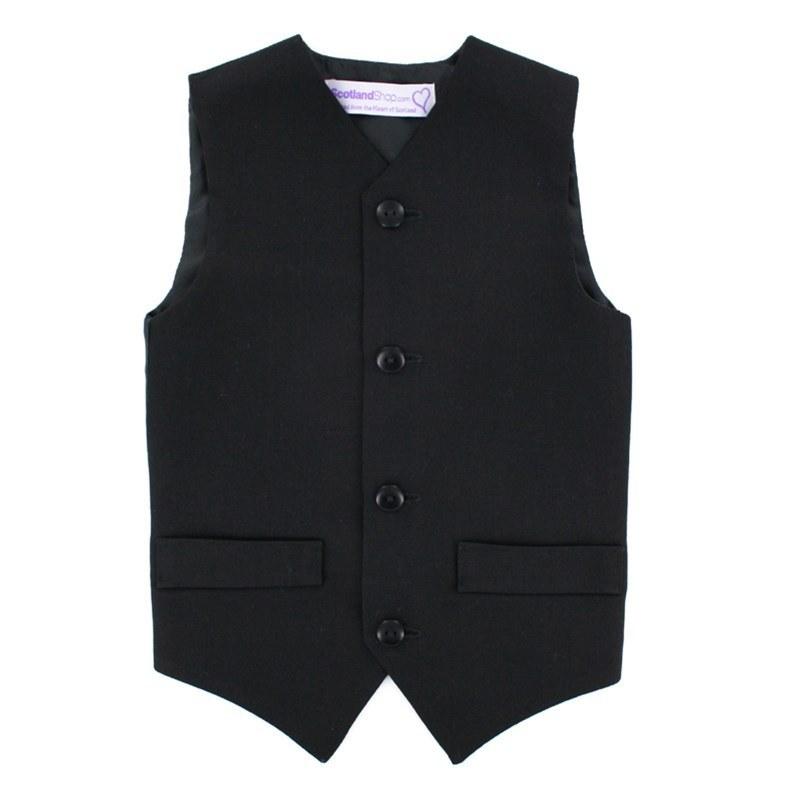 Einfarbige Weste für Jungen aus Wolle in Black