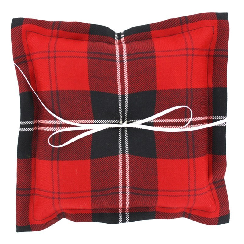 Plaid Ring Pillow in Ramsay Red Modern