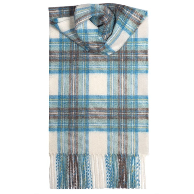 Classic Tartan Cashmere Scarf in Stewart Blue Dress