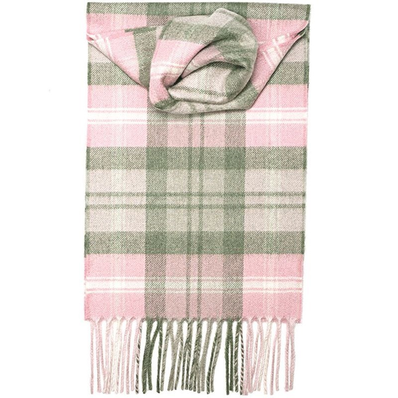 Classic Plaid Cashmere Scarf in Baird Pink