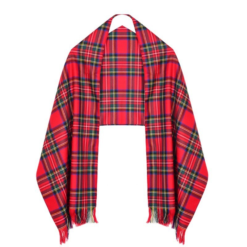 Wool Tartan Stole in Stewart Royal