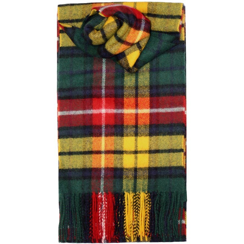 Brushed Wool Tartan Scarf in Buchanan Modern