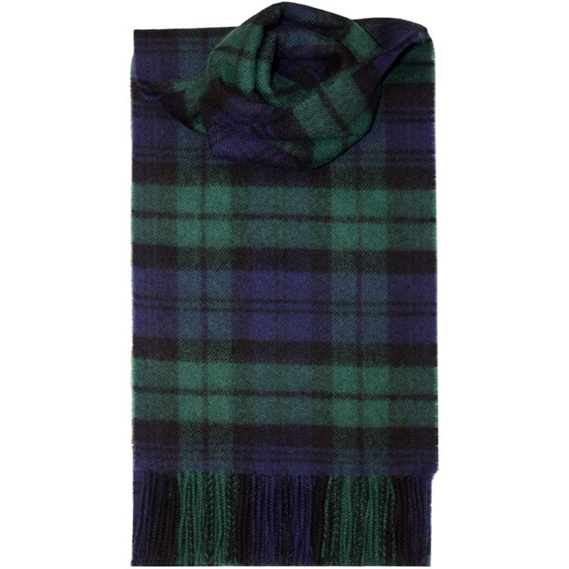Brushed Wool Tartan Scarf in Black Watch Modern