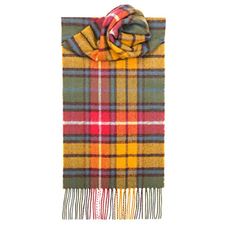 Brushed Wool Tartan Scarf in Buchanan Antique