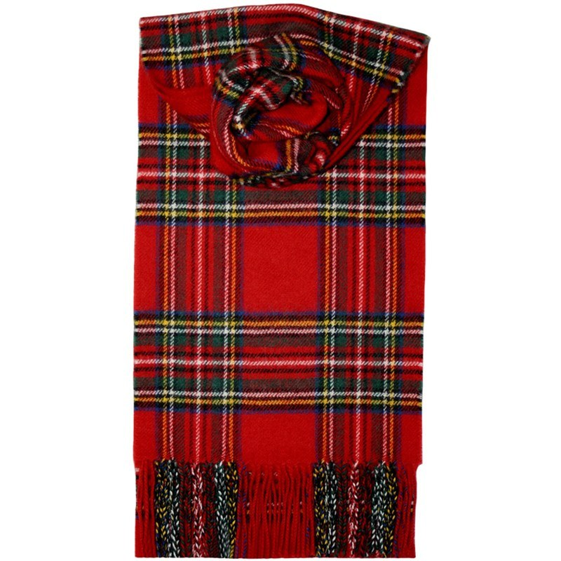 Brushed Wool Tartan Scarf in Stewart Royal