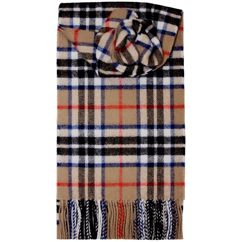Brushed Wool Tartan Scarf in Thompson Camel