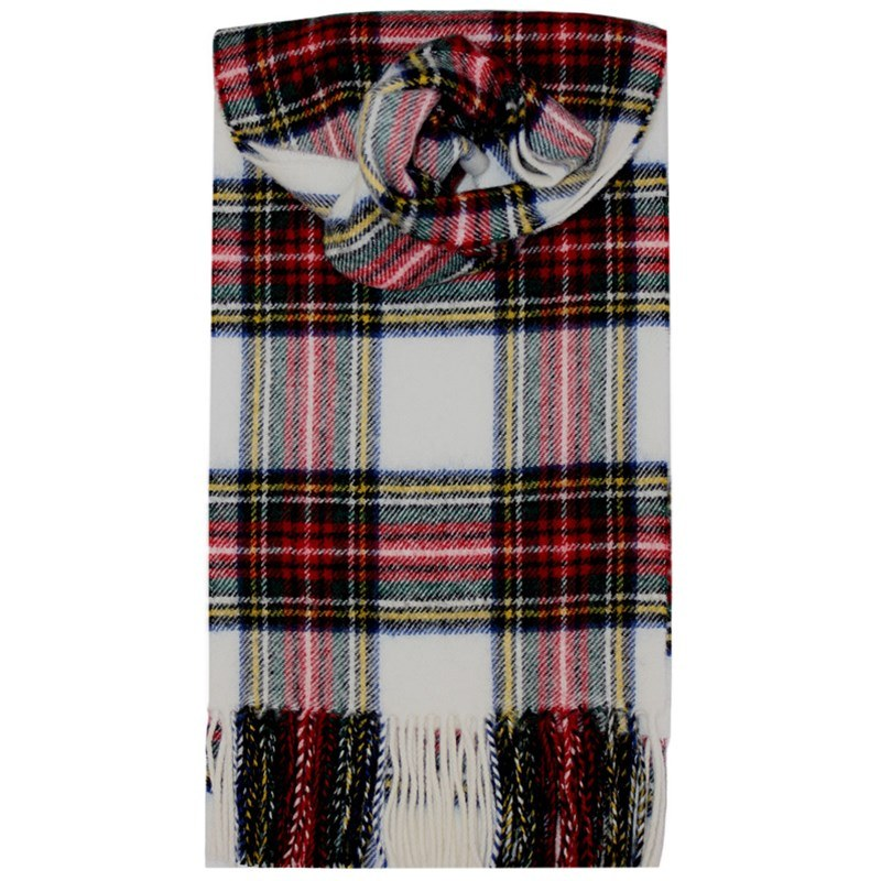 Brushed Wool Tartan Scarf in Stewart Dress Modern
