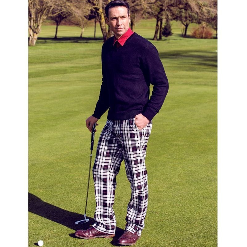 Plaid Golf Pants in Menzies Dress PolyViscose BA021T