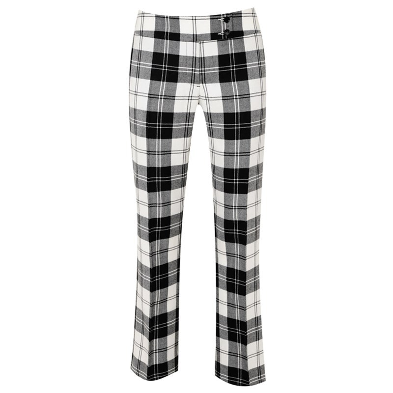 Women's Plaid Pants with Broad Waistband