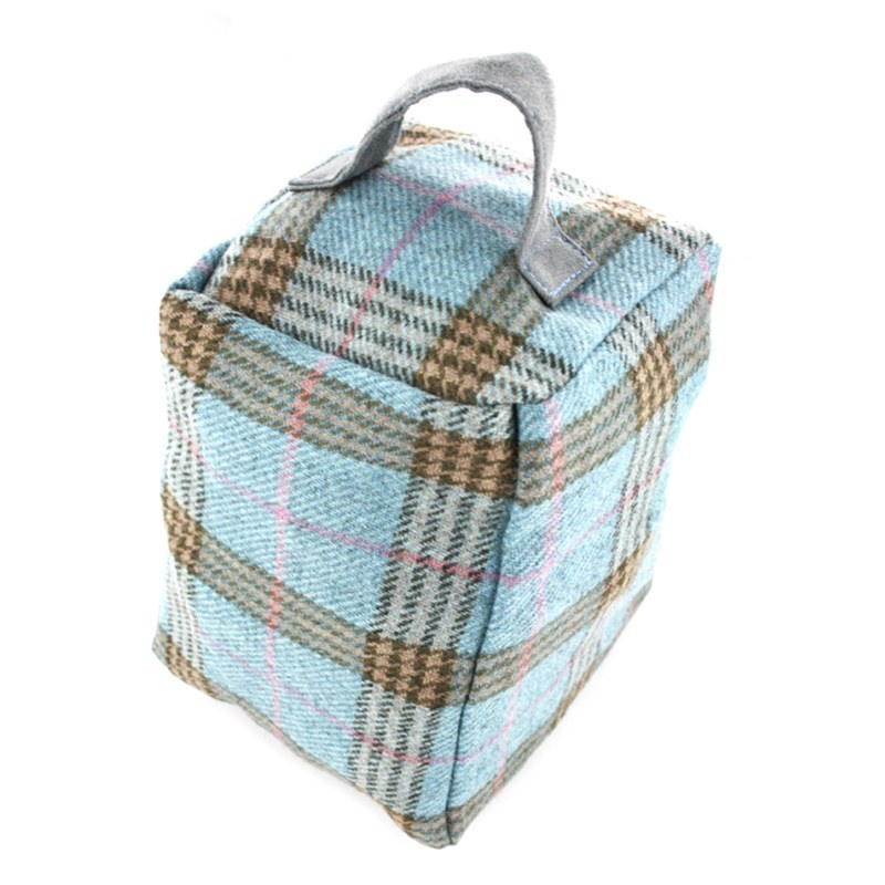 Tartan Doorstop in Duck Egg Estate Tweed 2099C