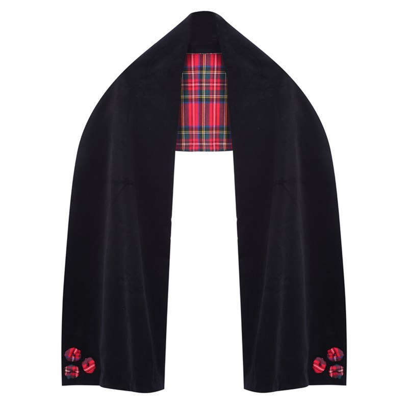 Wool Tartan and Velvet Stole in Stewart Royal