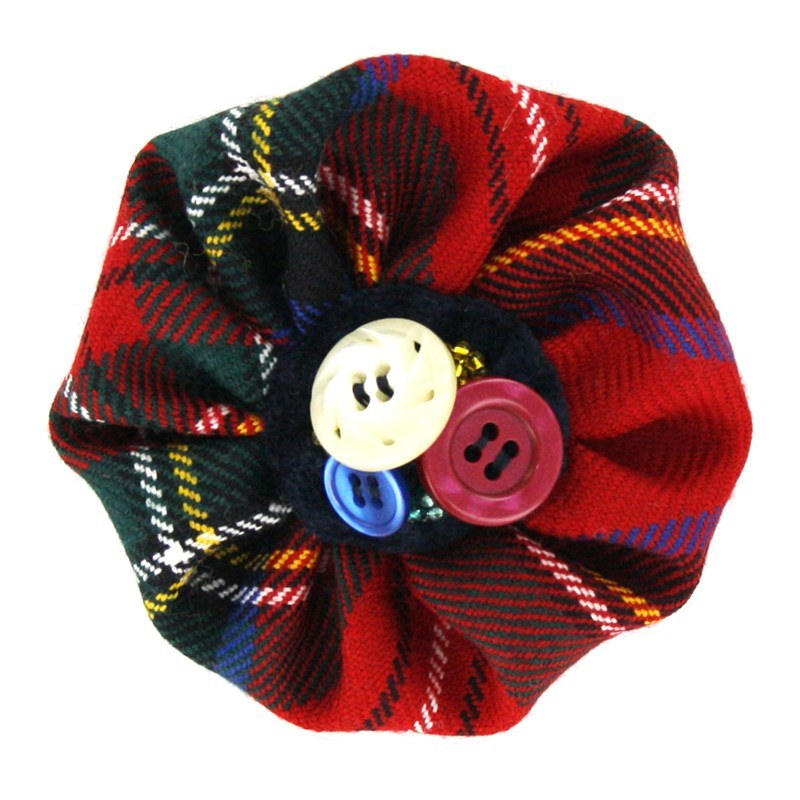 Button Tartan Brooch in Stewart Royal