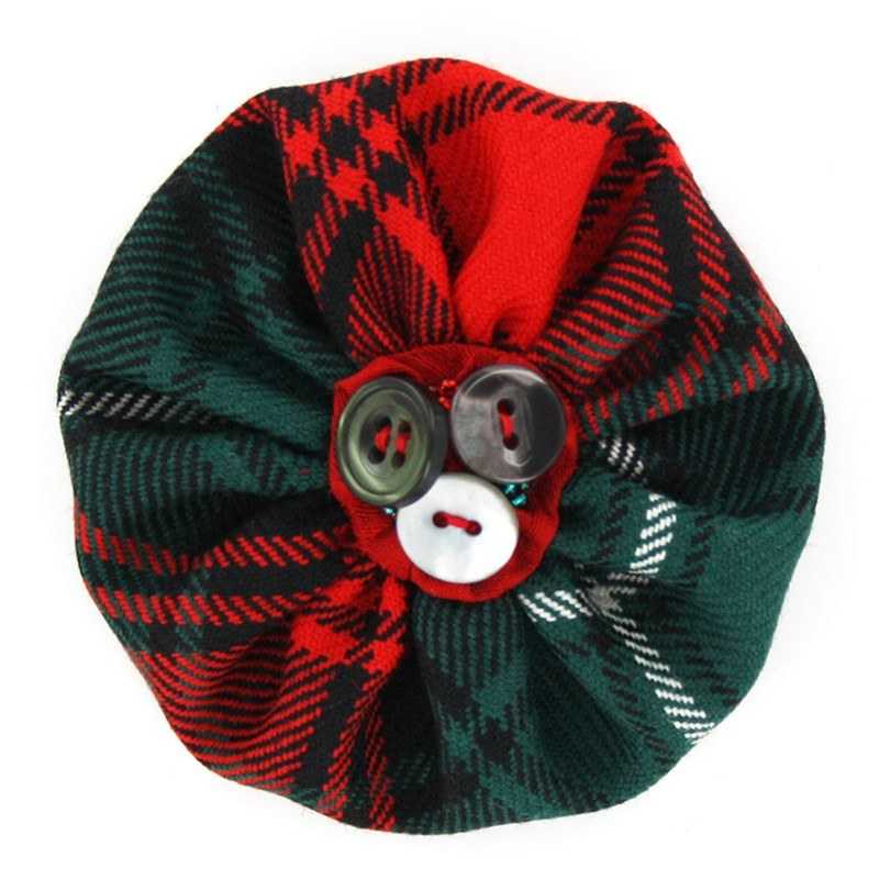 Button Tartan Brooch in Duns Pipe Band