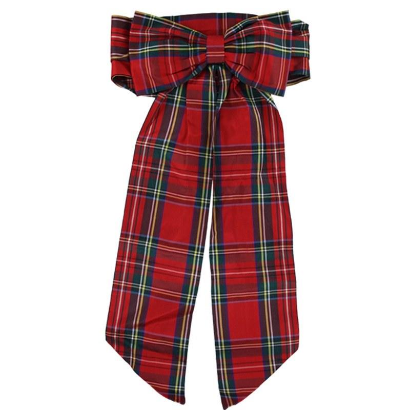 Vestido de nina con a la proa sash in Stewart Royal Silk 31013-26