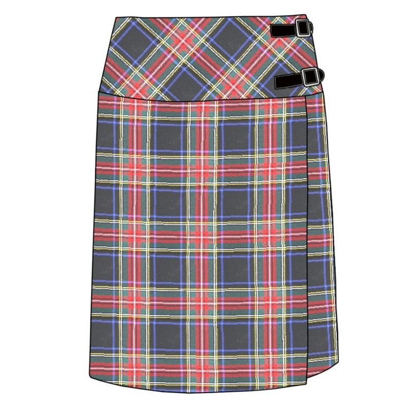 Celtic Wrap Tartan Skirt in Stewart Black