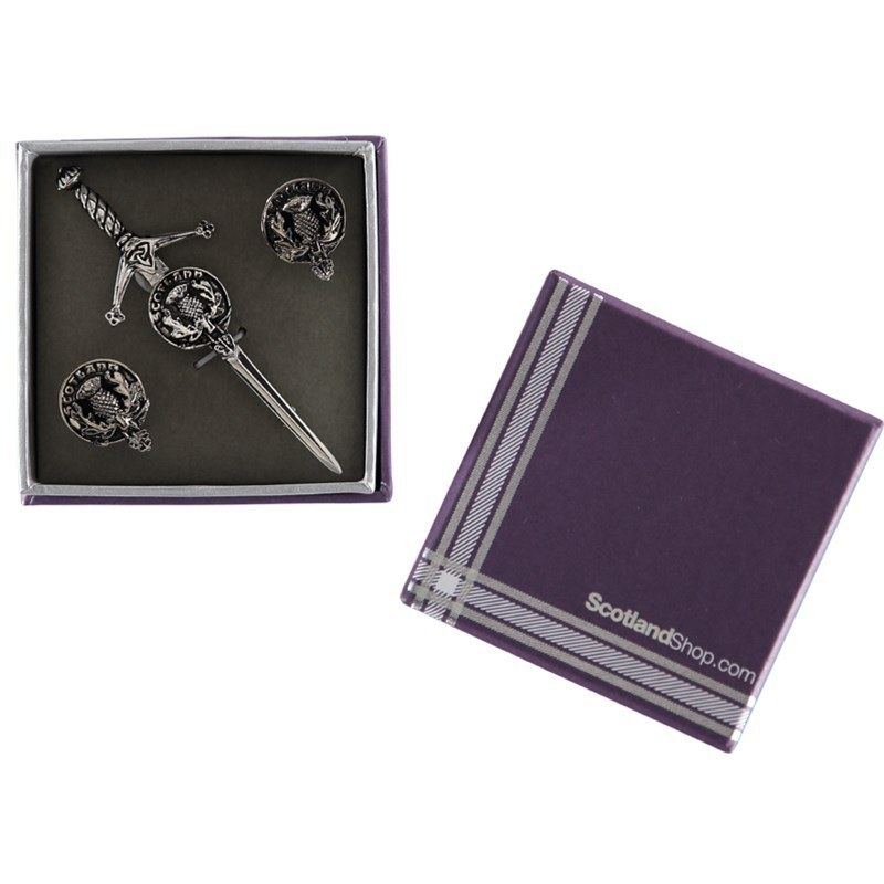 Clan Crest Cufflinks and Kilt Pin Set - Gift Boxed